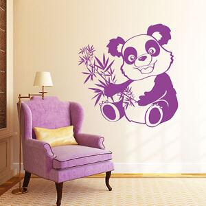 10592 wandtattoo loft wandaufkleber panda b r mit bambus eukalyptus gr ser kind ebay. Black Bedroom Furniture Sets. Home Design Ideas