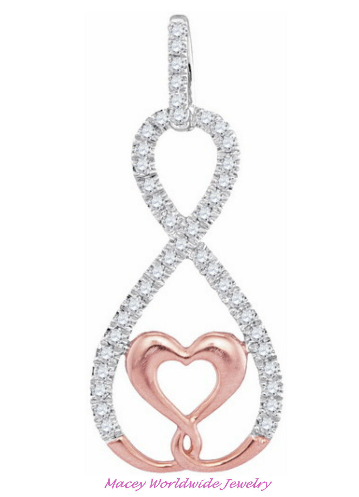 Infinity Diamond 10K Ravishing Rose Gold Heart White Diamond Necklace Pendant