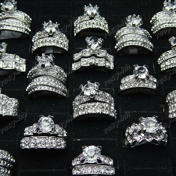 10pcs Wholesale Jewelry Lots Cubic Zircon Rhinestone 2 in 1 Rings Freeshipping