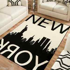 11 new york city nyc manhattan skyline cream black large for Area rugs new york