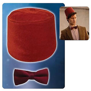11th-DR-WHO-Licensed-Red-FEZ-BOW-TIE-Costume-Props-REPLICA-Set-Matt-Smith-COOL