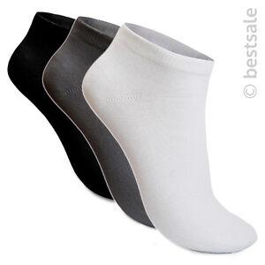 12-60-Paar-Socken-Sneaker-Fuesslinge-Kurzsocken-Sport-Damen-Herren-Schwarz-Weiss
