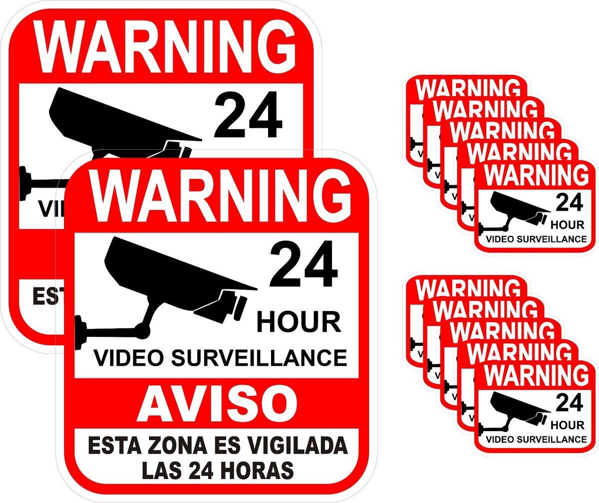 12 Alarm Surveillance Security Camera Video CCTV Sticker Warning Decal Signs