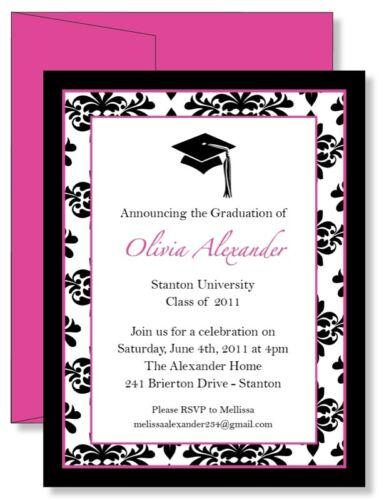 12 Custom Personalized Pink Damask Graduation Announcement Invitations Any Color in Specialty Services, Printing & Personalization, Invitations & Announcements | eBay