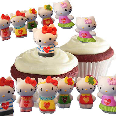 12 Hello Kitty Cupcake Cake Toppers Birthday Party Favors