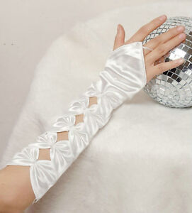 12-Long-Ivory-Satin-Gloves-Fingerless-Bow-Wedding