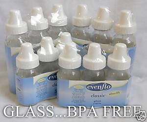 12 NEW Glass Baby Bottles with silicone nipples-EVENFLO-4+8oz BPA FREE in Baby, Feeding, Baby Bottles | eBay