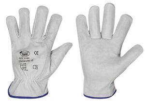 12-Paar-Lederhandschuhe-Montagehandschuhe-Arbeitshandschuhe-Rindnappaleder-Gr-9