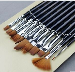 12 Pcs Painting Brushes Different Kinds for Acrylic Oil Watercolors in Crafts, Art Supplies, Painting | eBay