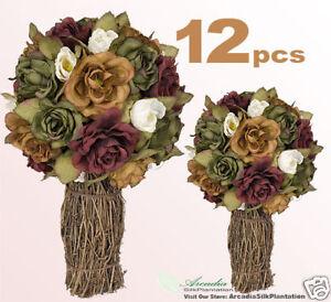 12 Rose Topiaries Silk Flower Wedding Centerpieces 12 EBay