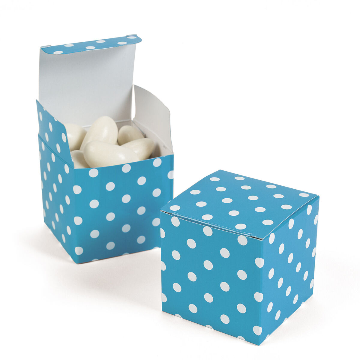 "12 Turquoise Polka Dot Treat Boxes 2"" Candy Buffet Favor Box Wedding Party"
