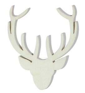 ... about 12 WOODEN SHAPES ORNAMENTS APPROX. 6CM REINDEER HEAD 2402