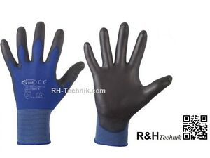 12-paar-PU-Arbeitshandschuhe-Gr-8-Montagehandschuhe-Mechaniker-blau