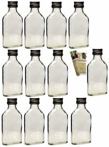 12 x 100 ml leere glasflaschen taschenflasche flachmann flasche 0 1 liter ebay. Black Bedroom Furniture Sets. Home Design Ideas