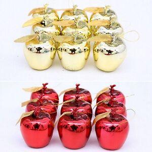12-x-Deko-Apfel-gold-Apfel-Weihnachten-Weihnachtsbaumschmuck-Weihnachtsbaum-Neu