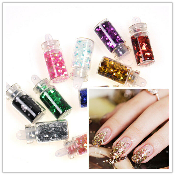 NEW 12PCS HEXAGON GLITTER GLASS MINI BOTTLES MANICURE NAIL