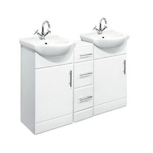 Double Bathroom Vanities on Double Bathroom Vanities On 1250mm Double Bathroom Set 450mm Vanity