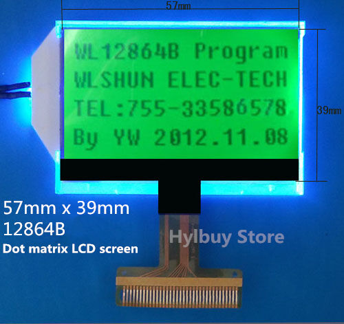 Details about 12864B 128X64 Dots Matrix Graphic LCD Module Display Screen  Green Backlight LCM