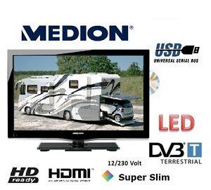 12Volt-220V-MEDION-18-5-TV-DVD-LED-DVB-T-12V-WOHNWAGEN-KFZ-CAMPING-LKW-BOOT