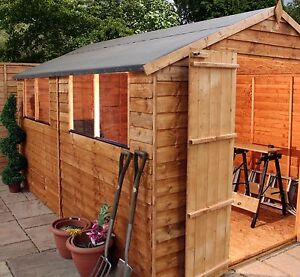 12ft-x-8ft-WOODEN-GARDEN-SHED-12x8-APEX-WOOD-SHEDS-TIMBER-OVERLAP