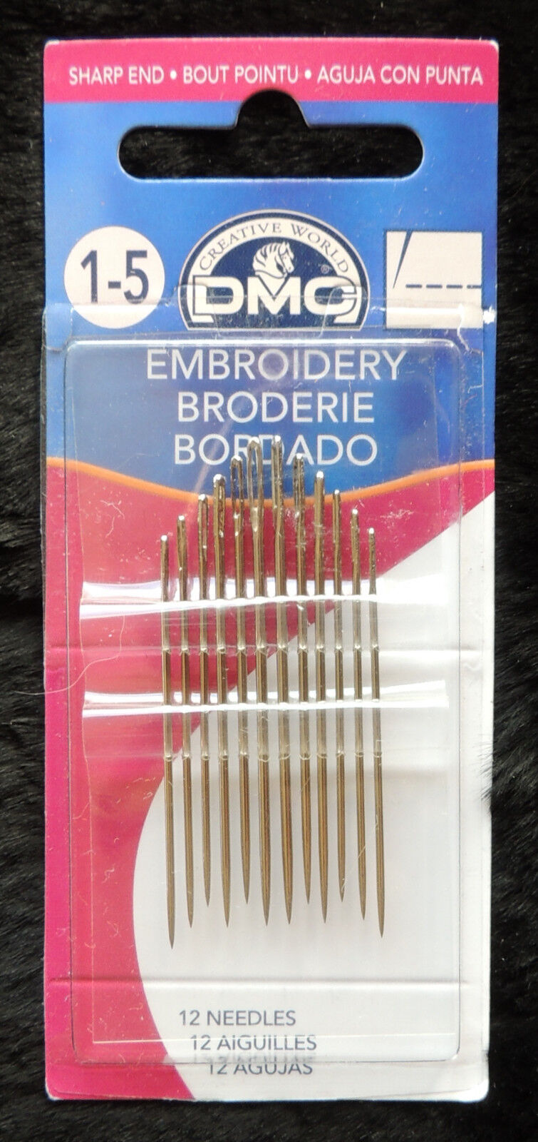 12pc DMC #1765//1 Embroidery Craft Needles Size 1-5 Nickel Plated Steel Sharp End