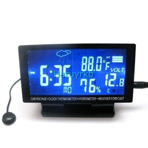 12V LED Digital Clock Car F C Thermometer Hygrometer Voltage Weather