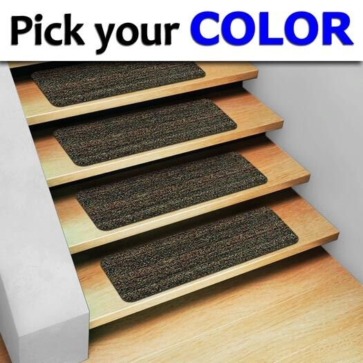 Stair treads non slip staircase step rug carpet exterior for Non skid stair treads exterior