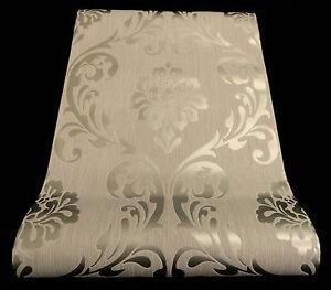 13110-50-1-Rolle-Vlies-Tapete-Ornament-Barock-Design-silber-hellgrau