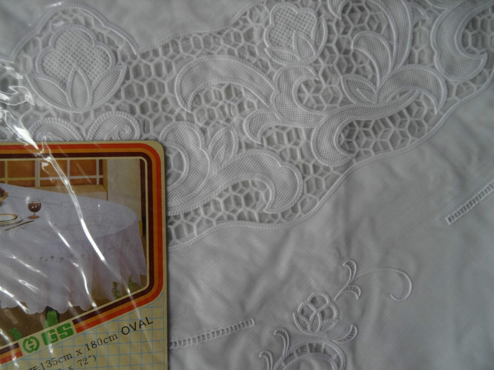 135x180 Cm Ovale Blanc Nappe De Table Couverture Protection Motif Floral Vinyle Ebay