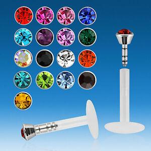 14 Farben Set Lippenpiercing BIOFLEX 1,2 x 8 x 2 mm Labret Tragus Helix Piercing