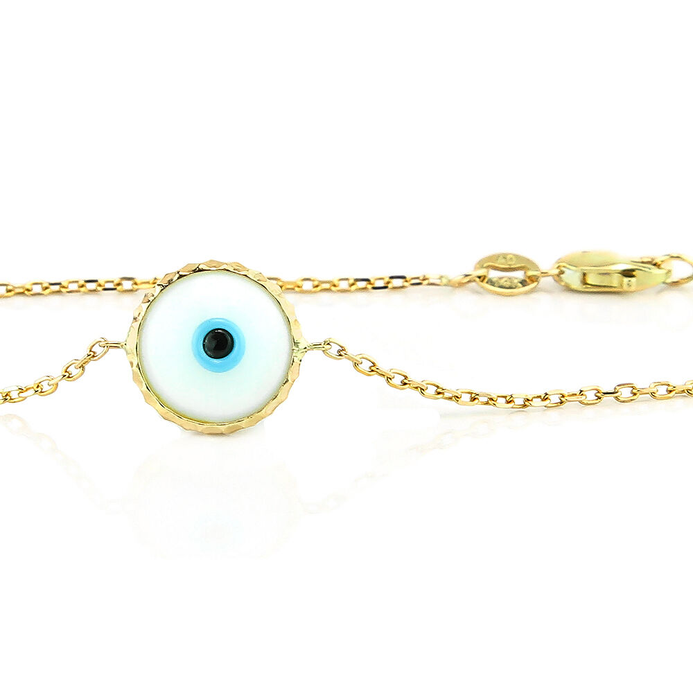 handmade 14k yellow gold evil eye bracelet white ebay