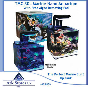 14 tmc 30l marine habitat micro reef coral nano kit fish tank aquarium free pad ebay. Black Bedroom Furniture Sets. Home Design Ideas