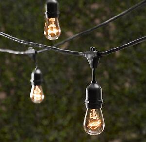 bulbs vintage patio string lights black cord clear glass edison bulbs. Black Bedroom Furniture Sets. Home Design Ideas