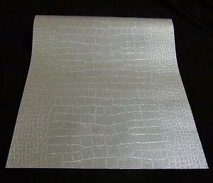 1466 25 1 rolle vinyl tapete krokodil lederoptik silber. Black Bedroom Furniture Sets. Home Design Ideas