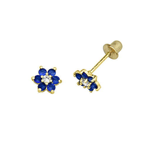 14K Gold Plated Sapphire Baby Flower Screwback Earring for Children Teen & Women in Jewelry & Watches, Children's Jewelry, Earrings | eBay