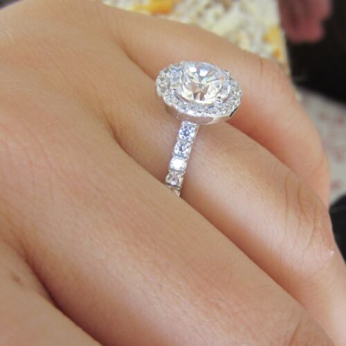 14k Solid White Gold Jewelry 2 04ct Man Made Diamond Engagement Anniversary Ring In