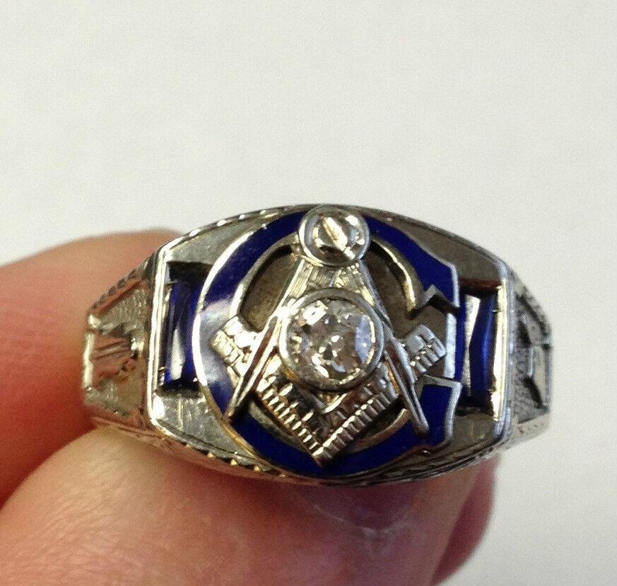 14k White Gold Diamond Sapphire Masonic Ring