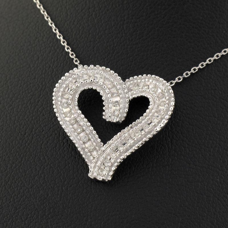 14K Womens White Gold Diamond Heart Charm Necklace .25