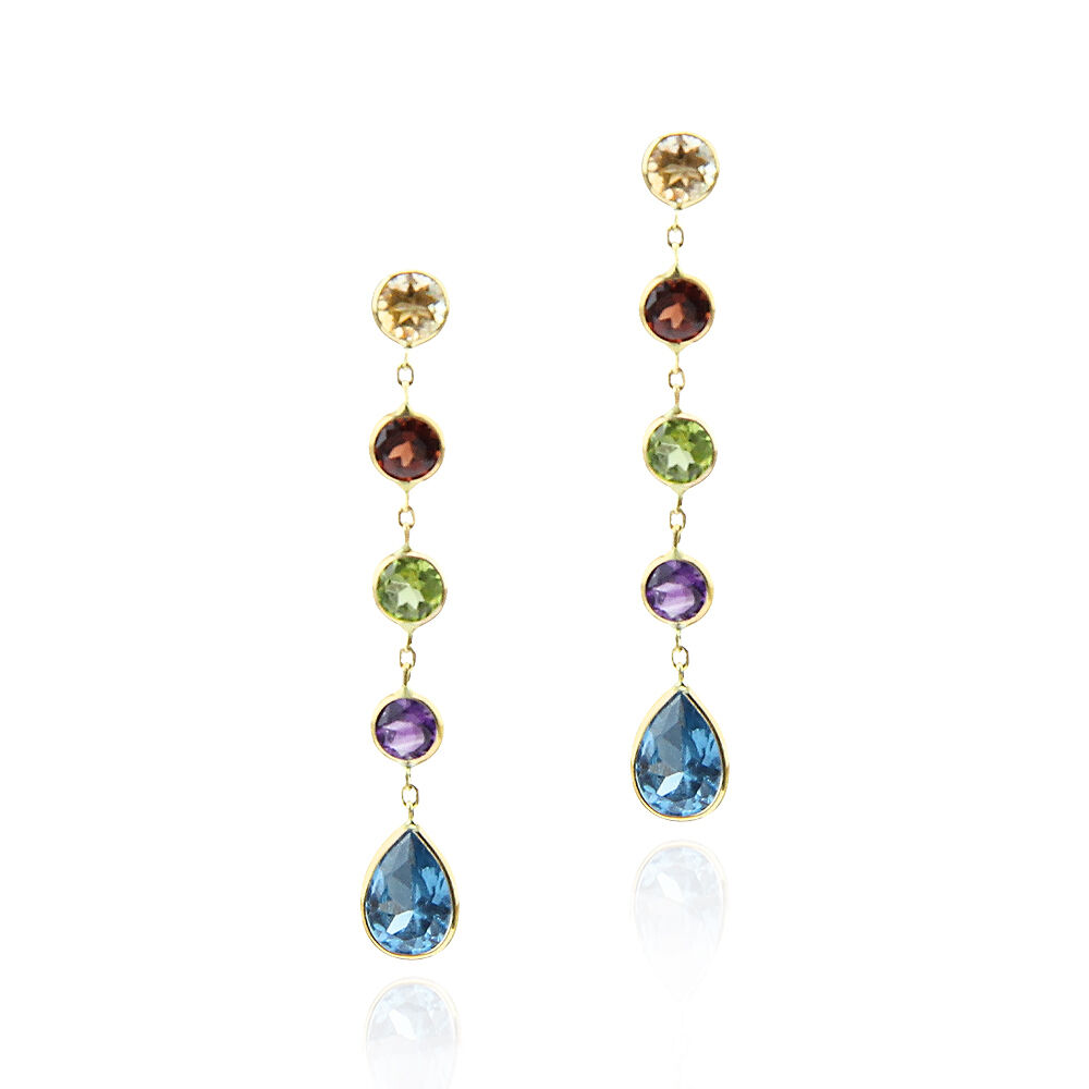 14k yellow gold dangling earrings with multi colored gemstones
