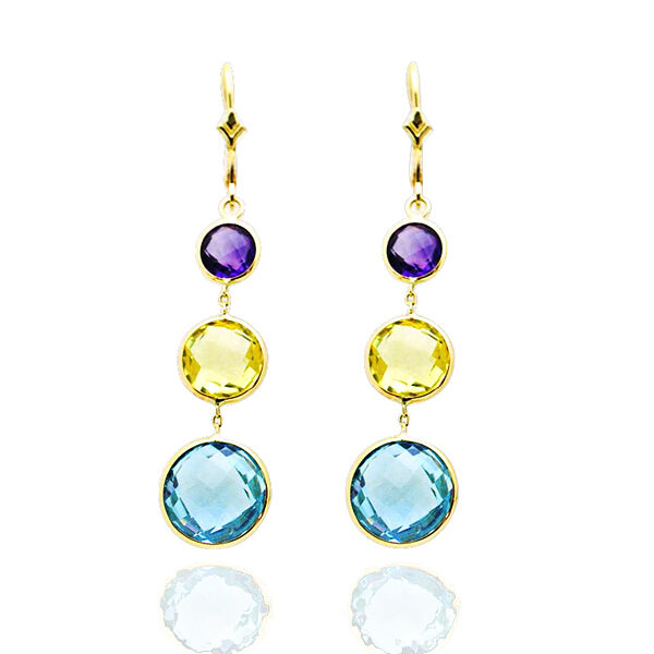 14k Yellow Gold Multi Colored Round Cut Gemstones Dangling
