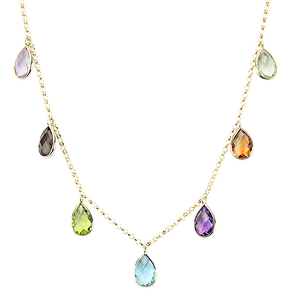 14k Yellow Gold Necklace With Hanging Pear Shaped