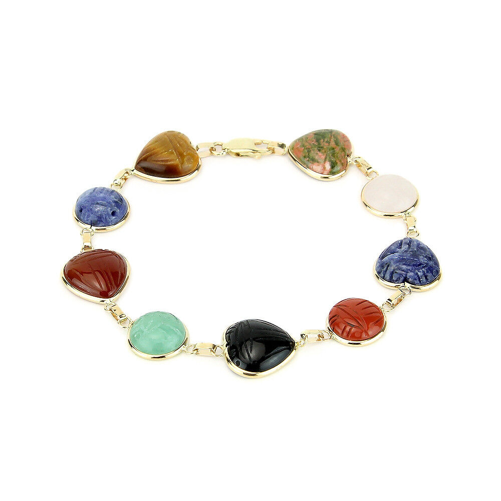14k Yellow Gold Scarab Bracelet With Round Heart Shaped Gemstones 7 Inches
