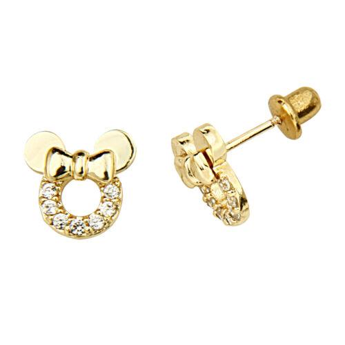14k Gold Plated Minnie Mouse Screw Back Earrings for Children Kids & Women in Jewelry & Watches, Children's Jewelry, Earrings   eBay