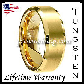 14k Gold Tungsten Carbide Wedding Band Ring Mens Jewelry Classic 8mm + Gift bag in Jewelry & Watches, Men's Jewelry, Rings | eBay