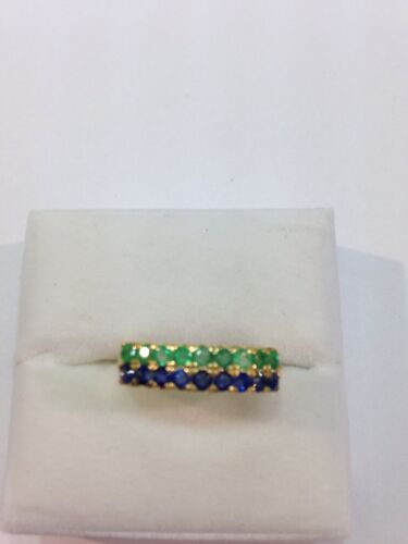 14k Solid Gold Band Ring with Natural Round Emerald&Sapphire in Jewelry & Watches, Fine Jewelry, Fine Rings | eBay