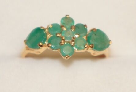 14k Solid Yellow Gold Cute Flower Ring with Natural Emerald. in Jewelry & Watches, Fine Jewelry, Fine Rings | eBay
