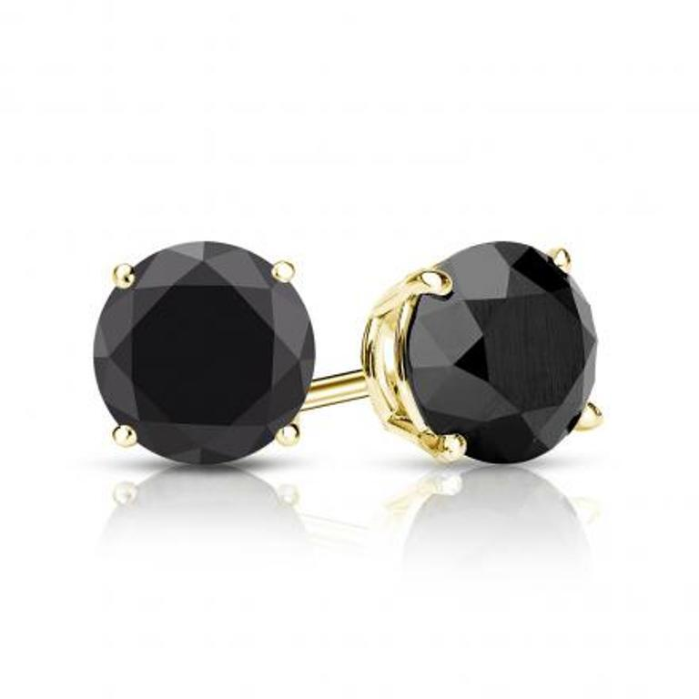 14k Yellow Gold Fn 925 Silver 2 00 Ct Solitaire Black Diamond Stud Earrings