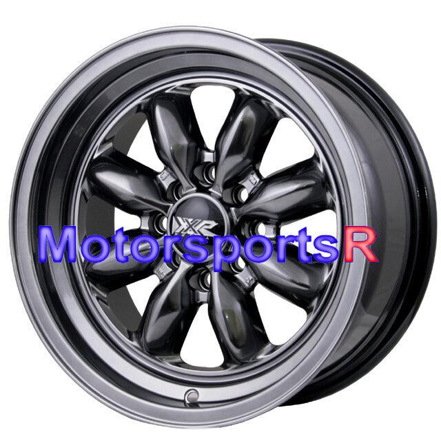 15 15x7 XXR 513 Chromium Black Rims Wheels Deep Dish Step Lip 4x114 3