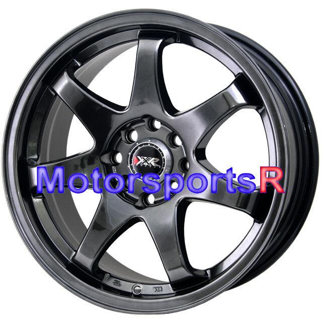 522 Chromium Black Concave Rims Wheels 4x100 97 02 Honda Civic SI EX