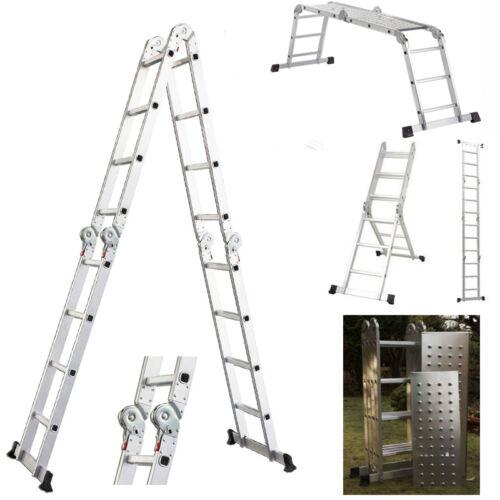 15.5' Platform Multi-Purpose Folding Aluminum Ladder w/ 2 Free Plate EN131 in Business & Industrial, MRO & Industrial Supply, Material Handling   eBay
